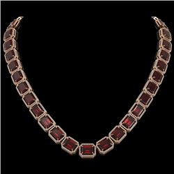73.44 CTW Garnet & Diamond Halo Necklace 10K Rose Gold - REF-696F2N - 41520