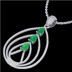 2 CTW Emerald & Micro Pave VS/SI Diamond Designer Necklace 18K White Gold - REF-133M3H - 22467