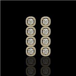 5.28 CTW Cushion Diamond Designer Earrings 18K Yellow Gold - REF-981H6A - 42631