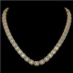 33.10 CTW Emerald Cut Diamond Designer Necklace 18K Yellow Gold - REF-6910A2X - 42661