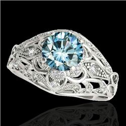1.36 CTW Si Certified Blue Diamond Solitaire Antique Ring 10K White Gold - REF-172A8X - 34716