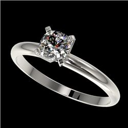 0.50 CTW Certified VS/SI Quality Cushion Cut Diamond Solitaire Ring 10K White Gold - REF-77M6H - 328