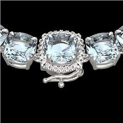 87 CTW Sky Blue Topaz & VS/SI Diamond Halo Micro Necklace 14K White Gold - REF-286N2Y - 23364