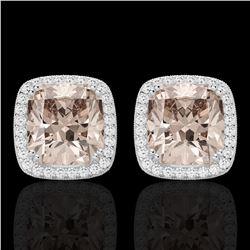 6 CTW Morganite & Micro Pave VS/SI Diamond Halo Earrings 18K White Gold - REF-117N3Y - 22806