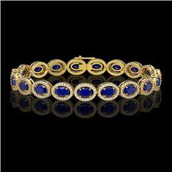 15.2 CTW Sapphire & Diamond Halo Bracelet 10K Yellow Gold - REF-244T2M - 40459