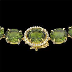 145 CTW Green Tourmaline & VS/SI Diamond Halo Micro Necklace 14K Yellow Gold - REF-1166H2A - 22301