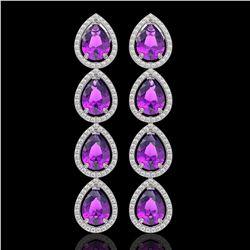 10.85 CTW Amethyst & Diamond Halo Earrings 10K White Gold - REF-154F2N - 41321