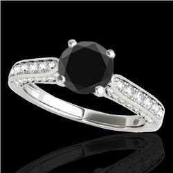 1.6 CTW Certified VS Black Diamond Solitaire Ring 10K White Gold - REF-79X6T - 34919