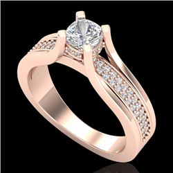 1.01 CTW Cushion VS/SI Diamond Solitaire Micro Pave Ring 18K Rose Gold - REF-200M2H - 37161