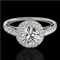 1.65 CTW H-SI/I Certified Diamond Solitaire Halo Ring 10K White Gold - REF-178W2F - 33697