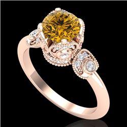 1.75 CTW Intense Fancy Yellow Diamond Engagement Art Deco Ring 18K Rose Gold - REF-236X4T - 37407