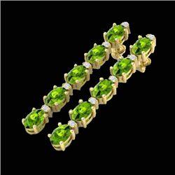 15.47 CTW Peridot & VS/SI Certified Diamond Earrings 10K Yellow Gold - REF-107W5F - 29486