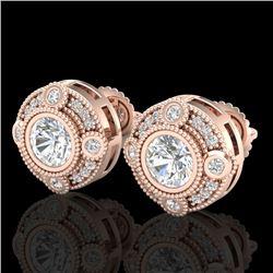 1.5 CTW VS/SI Diamond Solitaire Art Deco Stud Earrings 18K Rose Gold - REF-263M6H - 36981