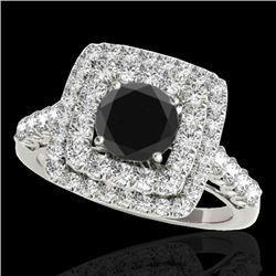 2.3 CTW Certified VS Black Diamond Solitaire Halo Ring 10K White Gold - REF-118F5N - 34597