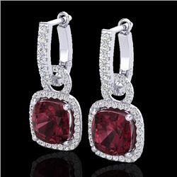 7 CTW Garnet & Micro Pave VS/SI Diamond Earrings 18K White Gold - REF-100X8T - 22963