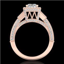 3.53 CTW Princess VS/SI Diamond Micro Pave 3 Stone Ring 18K Rose Gold - REF-618M2H - 37176