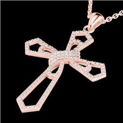 1 CTW Micro Pave VS/SI Diamond Cross Necklace 14K Rose Gold - REF-100Y8K - 22578