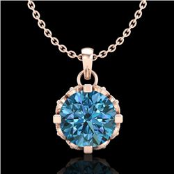 1.14 CTW Fancy Intense Blue Diamond Solitaire Art Deco Necklace 18K Rose Gold - REF-125F5N - 37377