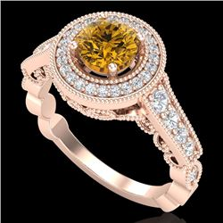 1.12 CTW Intense Fancy Yellow Diamond Engagement Art Deco Ring 18K Rose Gold - REF-167K3W - 37694