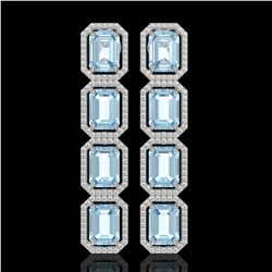 19.49 CTW Aquamarine & Diamond Halo Earrings 10K White Gold - REF-323A5X - 41594