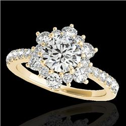 2 CTW H-SI/I Certified Diamond Solitaire Halo Ring 10K Yellow Gold - REF-200M2H - 33708