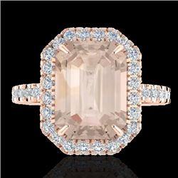 4.50 CTW Morganite & Micro Pave VS/SI Diamond Halo Ring 14K Rose Gold - REF-91W6F - 21430