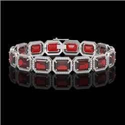 33.41 CTW Garnet & Diamond Halo Bracelet 10K White Gold - REF-318A2X - 41567