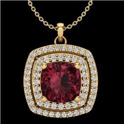 2.27 CTW Garnet & Micro Pave VS/SI Diamond Halo Necklace 18K Yellow Gold - REF-63N3Y - 20458