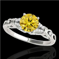 1.2 CTW Certified Si/I Fancy Intense Yellow Diamond Solitaire Ring 10K White Gold - REF-209H3A - 352
