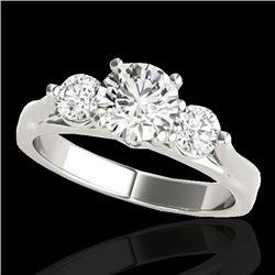 1.5 CTW H-SI/I Certified Diamond 3 Stone Ring 10K White Gold - REF-180T2M - 35367