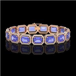 36.37 CTW Tanzanite & Diamond Halo Bracelet 10K Rose Gold - REF-776F4N - 41532