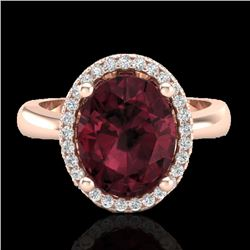2.50 CTW Garnet And Micro Pave VS/SI Diamond Ring Halo 14K Rose Gold - REF-38M9H - 21105