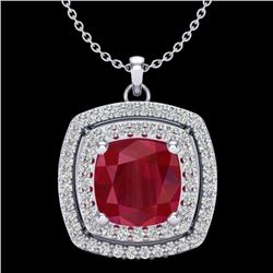 2.52 CTW Ruby & Micro Pave VS/SI Diamond Halo Necklace 18K White Gold - REF-76Y4K - 20461