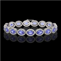 21.35 CTW Tanzanite & Diamond Halo Bracelet 10K White Gold - REF-353T6M - 40610