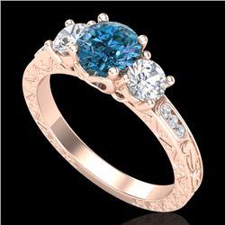1.41 CTW Intense Blue Diamond Solitaire Art Deco 3 Stone Ring 18K Rose Gold - REF-180F2N - 37762