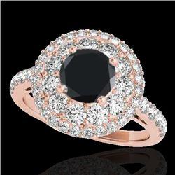 2.09 CTW Certified VS Black Diamond Solitaire Halo Ring 10K Rose Gold - REF-112M9H - 33692