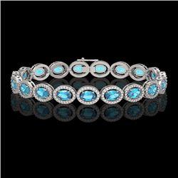 14.82 CTW Swiss Topaz & Diamond Halo Bracelet 10K White Gold - REF-230H4A - 40484