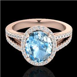 3 Sky Blue Topaz & Micro VS/SI Diamond Halo Solitaire Ring 14K Rose Gold - REF-60A9X - 20932