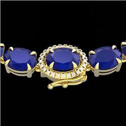 92 CTW Sapphire & VS/SI Diamond Tennis Micro Pave Halo Necklace 14K Yellow Gold - REF-270A2X - 23461