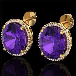 20 CTW Amethyst & Micro VS/SI Diamond Halo Pave Earrings 18K Yellow Gold - REF-123M3H - 20263