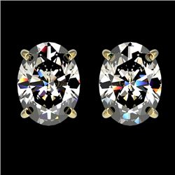 2.50 CTW Certified VS/SI Quality Oval Diamond Stud Earrings 10K Yellow Gold - REF-840T2M - 33113