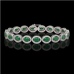 15.2 CTW Emerald & Diamond Halo Bracelet 10K White Gold - REF-255F3N - 40451