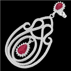 6.40 CTW Ruby & Micro Pave VS/SI Diamond Earrings 14K White Gold - REF-303F5N - 22427