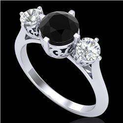 1.51 CTW Fancy Black Diamond Solitaire Art Deco 3 Stone Ring 18K White Gold - REF-134N5Y - 38080