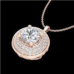 1.25 CTW VS/SI Diamond Solitaire Art Deco Necklace 18K Rose Gold - REF-272Y8K - 37260