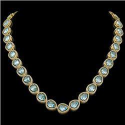 41.6 CTW Sky Topaz & Diamond Halo Necklace 10K Yellow Gold - REF-595N5Y - 41218
