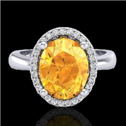2.50 CTW Citrine And Micro Pave VS/SI Diamond Ring Halo 18K White Gold - REF-50H2A - 21101