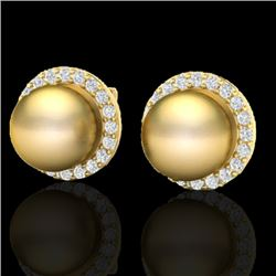 0.50 CTW Micro Pave Halo VS/SI Diamond & Golden Pearl Earrings 18K Yellow Gold - REF-61W3F - 21495