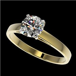 0.97 CTW Certified H-SI/I Quality Diamond Solitaire Engagement Ring 10K Yellow Gold - REF-199K5W - 3