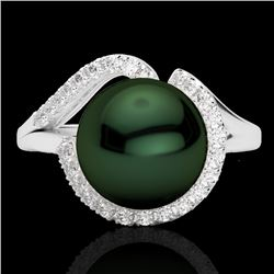 0.27 CTW VS/SI Diamond & Peacock Pearl Designer Ring 18K White Gold - REF-50K8W - 22621